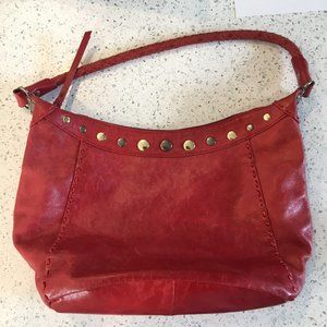 THE SAK red leather shoulder bag with woven strap